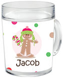 Gingerbread Dots Boy Clear Acrylic Mug