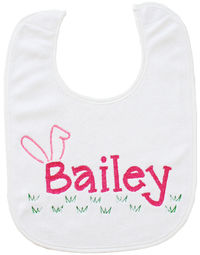 Bailey Bunny Ears Embroidered Bib