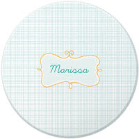 Name Frame Blue Round Glass Cutting Board