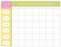 Yellow Gingham Weekly Scheduling Pad C20402