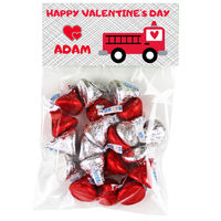 Fire Truck Valentine Candy Bag Toppers
