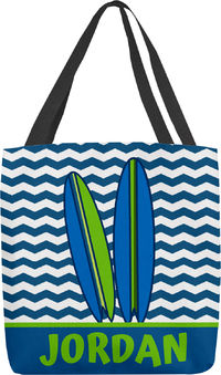 Blue Green Surfboard Tote Bag