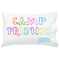 Camp Friends Wood Letters Bright UNPERSONALIZED Pillowcase