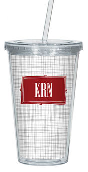 Charcoal Crosshatch Clear Acrylic Tumbler