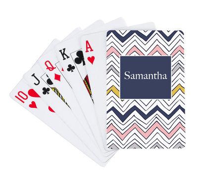 Navy Scribble Chevron Playing Cards