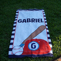 Sporty Cap Baseball Beach Towel