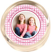 Pink Gingham Photo Paperweight PWR450