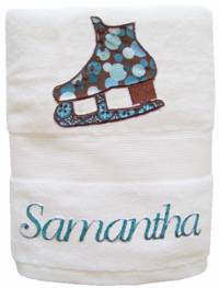 Ice Skate Blue Embroidered and Applique Towel