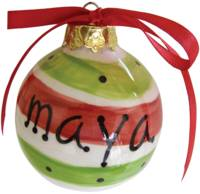 Red & Green Stripes Ornament SLRGO