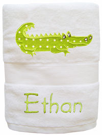 Crocodile Embroidered and Applique Towel