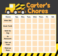 Construction Truck Chore Board