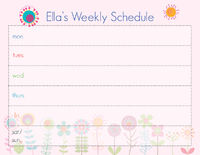 Graphic Flowers Weekly Calendar
