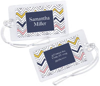 Navy Scribble Chevron Luggage Tag