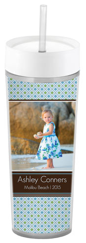 Blue Diamonds Slim Acrylic Tumbler