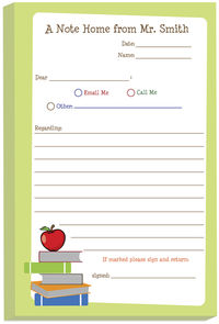 Red Apple From Teacher Note Pad