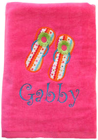 Flipflops Embroidered and Applique Beach Towel