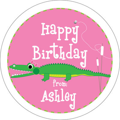 Girly Alligator Chomp Gift Stickers 6001