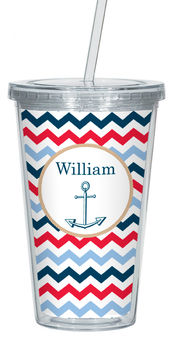 Anchored in Chevron Clear Acrylic Tumbler