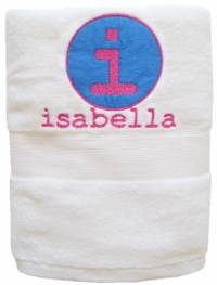 Initial Circle Periwinkle Embroidered and Applique Towel