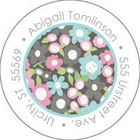Chalk Flowers Round Address Label