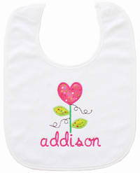 Heart Flower Embroidered Bib