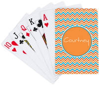 Aqua Orange Playing Cards