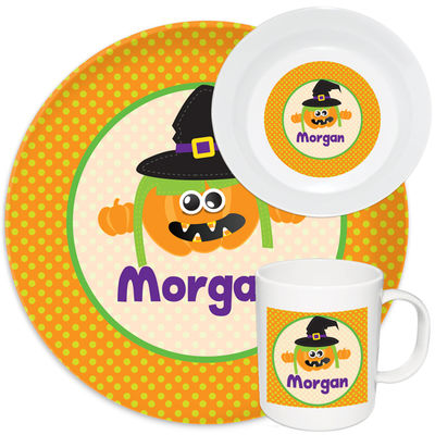 Pumpkin Witch Melamine Set  sc 1 st  Script and Scribble : personalized plastic plates for kids - pezcame.com
