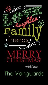 Fancy Holiday Flourish Black Gift Sticker