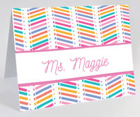Chevron Pencil Pink Foldover Note Card