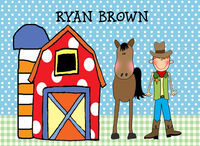 Barn Boy Custom Foldover Note Card Horizontal