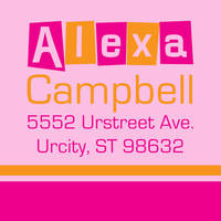 Letter Shapes Fuchsia Return Address Label