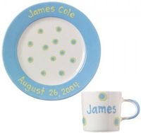 Cornflower Blue Baby Dot Plate and Cup Set