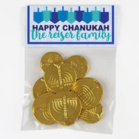 Chanukah Dreidels Candy Bag Toppers