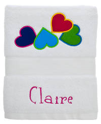 Bright Hearts Embroidered and Applique Towel
