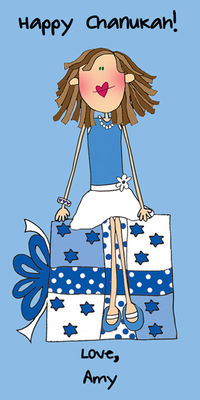 Blue Holiday Custom Gift Labels Vertical H-CBAL