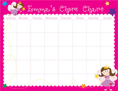 Princess Calendar Pad | Kids Schedule Pad | Homework Chart ...