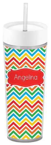 Bright Chevron Slim Acrylic Tumbler
