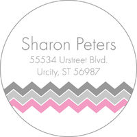 Pink and Grey Chevron Address Label