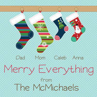 Stockings Family Square Gift Stickers