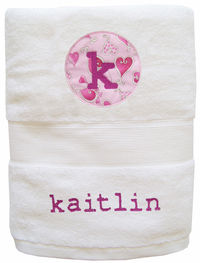 Hearts Embroidered and Applique Towel