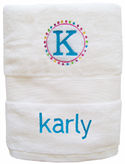 Initial Blue Embroidered Towel