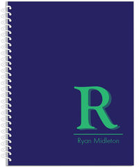 Navy and Green Initial Journal | Notebook