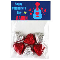 Blue Guitar Valentine Candy Bag Toppers