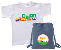 Choo Choo Train Tee & Drawstring Bag