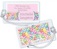 Pink Peace Gray Luggage Tag