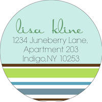 Stripes Seafoam Return Address Label