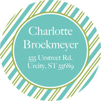 Green Teal Stripes Address Label