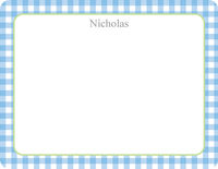 Blue Gingham Note Card