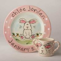 Fuzzy Bunny Hand Painted Plate SL14P