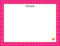 Hot Pink Grid Thank You Card